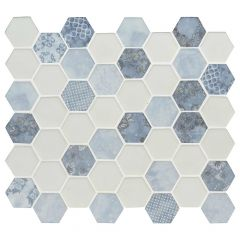 Vista Azul Hexagon Glass Mosaic Tile