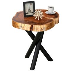 Shlok Accent Table- Natural With Black Legs