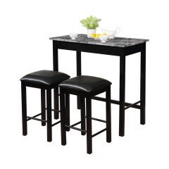 Omaha 3 Piece Counter Height Dining Set- Black