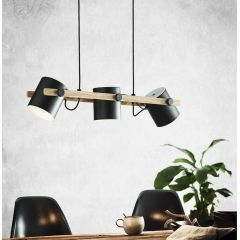 Hornwood Pendant Light 3 Light Black And Wood Finish