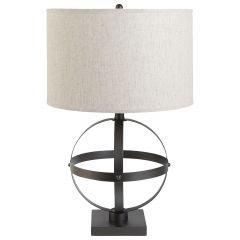 """20"""" Table Lamp Bronze With Beige Linen"""