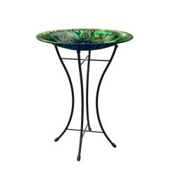 "16"" Peacock Bird Bath With Stand"