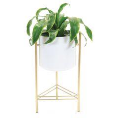 Modern Planter Gold Stand White Pot
