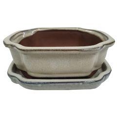 "6"" Bonsai Flouted Pot With Saucer"