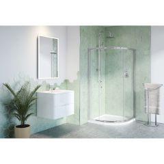 Chrome Frame Clear Glass Capri Round 3 Shower Door