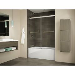 Black Frame Clear Glass Tub Door Gemini Bypass