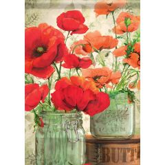 Mason Jar Poppies Garden Flag