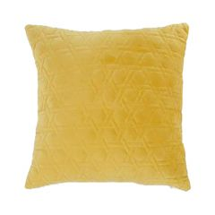 """Yellow 16"""" x 16"""" Sitched Velvet Cushion"""