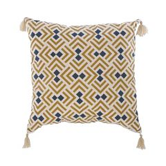 """Teal and Yellow 17"""" x 17"""" Motif Cushion"""