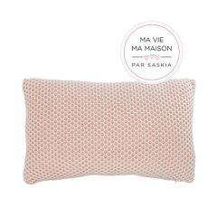 """Pink and White 19"""" x 12"""" Weaved Knit Cushion"""