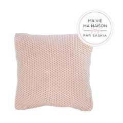 """Pink and White 18"""" x 18"""" Weaved Knit Cushion"""