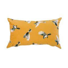 """Mustard Yellow 19"""" x 11"""" Bird Motif Cushion"""