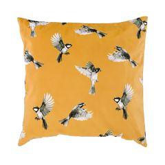 """Mustard Yellow 17"""" x 17"""" Bird Motif Cushion"""