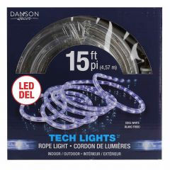 15' Rope Light With 120 LED Cool White Bulbs