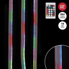 18' Rope Light With 264 Red, Green And Blue LED Neon Bulbs,