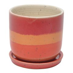 Water Color Stripe Egg Pot 6.75""