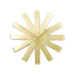 "12"" Diameter Ribbon Brass Clock"