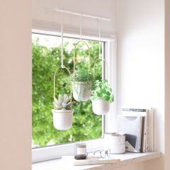 Triflora White And Brass Hanging Planter