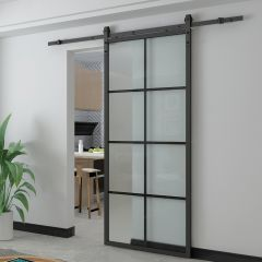 "33"" x 84"" Glass Barn Door And Rail Kit"