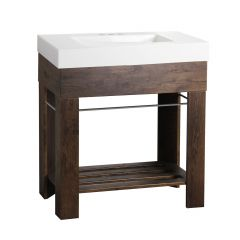 Visby 30 Inch Walnut Brown Finish Vanity With Thick Cultured