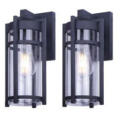 "7"" Eris Outdoor Light Fixtures Matte Black With Clear Glass"