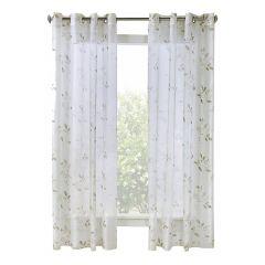 """52"""" x 84"""" Victoria White Sheer Curtain"""