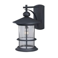 Ryder Outdoor Black Wall Lantern with Seeded Glass
