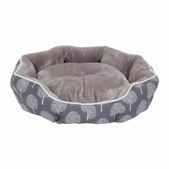 Medium Round Pet Bed With Grey And White Strips