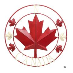 """40"""" Red And Cream Canada Large Circle Plaque"""