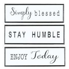 """16"""" x 5"""" Blessed Humble Enjoy Wall Plaques- Assorted"""