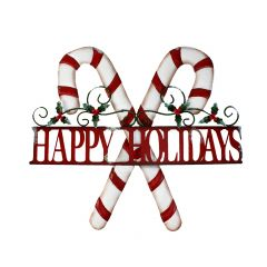 """20"""" x 18"""" Happy Holidays Candy Cane Plaque"""