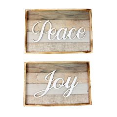 """16"""" x 24"""" Peace Joy Wooden Wall Plaque- Assorted"""