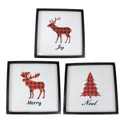 "16"" x 16"" Plaid Christmas Wall Plaques- Assorted"