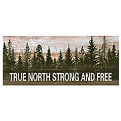 """12"""" x 27.5"""" True North Strong and Free Wooden Plaque"""