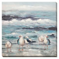 """36"""" x 36"""" Blue Water Sanctuary Hand-Embellished Canvas"""