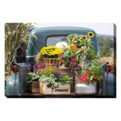 """22"""" x 28"""" Vintage Truck with Flowers Canvas"""