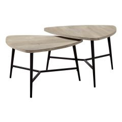 2 Piece Taupe Nested Coffee Table Set