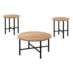 3 Piece Pine Circular Coffee Table Set