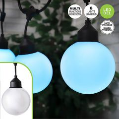 6 Light Jumbo Frosted Multi Function String Lights