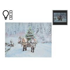 "16"" x 12"" Christmas Horses LED Canvas"