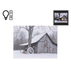 "16"" x 12"" Winter White Barn LED Canvas"