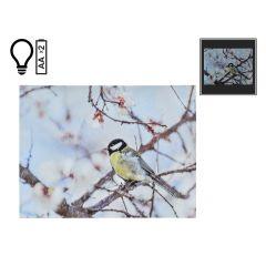"16"" x 12"" Winter Bird on Branch LED Canvas"
