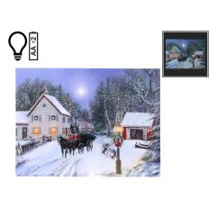"""16"""" x 12"""" Winter Carriage LED Canvas"""