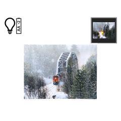 "16"" x 12"" Winter Train on Bridge LED Canvas"