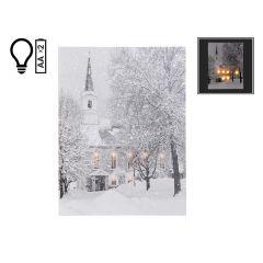 """12"""" x 16"""" Winter Snow on Church LED Canvas"""