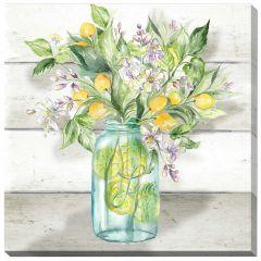 "30"" x 30"" Watercolor Lemons In Mason Jar On Shiplap Canvas"
