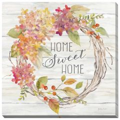 "24"" x 24"" Farmhouse Hydrangea Wreath Spice I Home Canvas"
