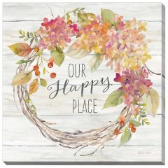 "24"" x 24"" Farmhouse Hydrangea Wreath Spice II Happy Place"