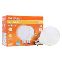 6 Watt Dimmable Medium Base LED G25 Bulb-2/Pack