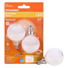 4.5 Watt Dimmable Candelabra Base LED G16.5 Bulb-2/Pack